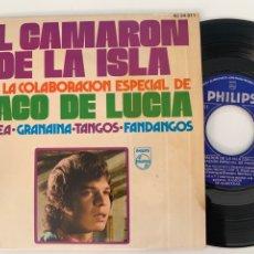 Discos de vinilo: SINGLE EP EL CAMARÓN DE LA ISLA SOLEA GRANAINA TANGOS FANDANGO. Lote 295825803
