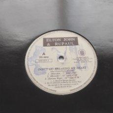 Discos de vinilo: ELTON JOHN & RUPAUL – DON'T GO BREAKING MY HEART-LP-ITALIA-1994-. Lote 295847718