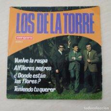 Discos de vinilo: LOS DE LA TORRE - VUELVE LA RASPA / ALFILERES NEGROS / DONDE ESTAN LAS FLORES +1 VERGARA 1968 VG+. Lote 295858418