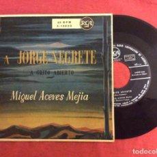 Discos de vinilo: A JORGE NEGRETE. A GRITO ABIERTO. MIGUEL ACEVES MEJIA. RCA.. Lote 295896353
