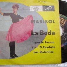 Discos de vinilo: MARISOL DISCO HECHO EN MEXICO : LA BODA , TIENE LA TARARA , LOS MALELILLAS , YO A TI TAMBIEN. Lote 295961768