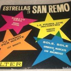 Discos de vinilo: EP ESTRELLAS EN SAN REMO - BRUNO FILIPPINI , FABRIZIO FERRETTI , LILLY BONATO , ETC-PEDIDO MINIMO 7€. Lote 296615798
