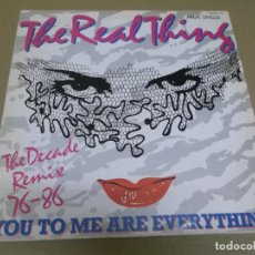 Discos de vinilo: THE REAL THING (MAXI) YOU TO ME ARE EVERYTHING) (3 TRACKS) AÑO – 1986. Lote 296735973