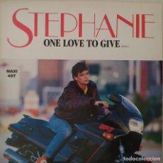 "Discos de vinilo: 12"" STEPHANIE - ONE LOVE TO GIVE - SANNI CAR 8692 - SPAIN - PROMO MAXI (EX+/EX+). Lote 296792373"