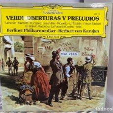 Discos de vinilo: VERDI, HERBERT VON KARAJAN, BERLINER PHILHARMONIKER - OBERTURAS Y PRELUDIOS (LP, ALBUM). Lote 297071593