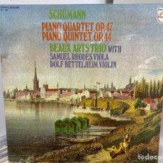 Discos de vinilo: SCHUMANN - BEAUX ARTS TRIO WITH SAMUEL RHODES, DOLF BETTELHEIM - CUARTETO (LP, ALBUM). Lote 297073698