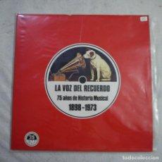 Discos de vinilo: LA VOZ DEL RECUERDO 75 AÑOS DE HISTORIA MUSICAL 1898-1975 - 2 LP 1973. Lote 297075518