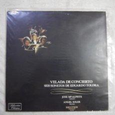Discos de vinilo: VELADA DE CONCIERTO SEIS SONETOS DE EDUARDO TOLDRÁ / POR JOSÉ M.ª ALPISTE Y ANGEL SOLER - LP 1975. Lote 297076428
