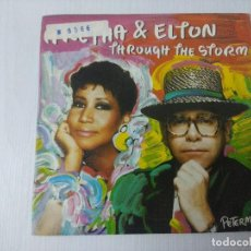 Discos de vinilo: ARETHA & ELTON JOHN/THROUGHT THE STORM/SINGLE.. Lote 297079363