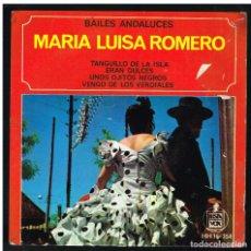 Discos de vinilo: MARIA LUISA ROMERO - BAILES ANDALUCES - TANGUILLO DE LA ISLA + 3 - EP 1963 -SOLO PORTADA, SIN VINILO. Lote 297106513