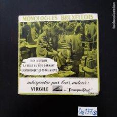 Discos de vinilo: MONOLOGUES BRUXELLIOS. Lote 297113053