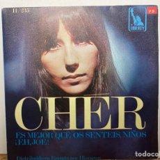 """Discos de vinilo: CHÉR - ES MEJOR QUE OS SENTEIS, NIÑOS / ¡EH, JOE! (7"""", SINGLE) (LIBERTY, HISPAVOX) H/235. Lote 297157083"""