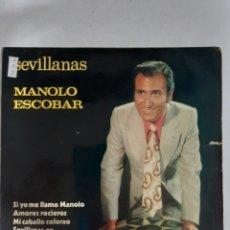 Discos de vinilo: MV402 MANOLO ESCOBAR SEVILLANAS - MINI VINILO DE SEGUNDAMANO. Lote 297236738