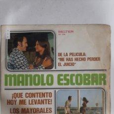 Discos de vinilo: MV404 MANOLO ESCOBAR QUÉ CONTENTO HOY ME LEVANTÉ- MINI VINILO DE SEGUNDAMANO. Lote 297236943