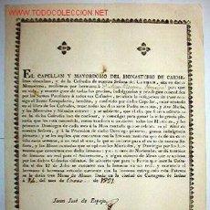 Documentos antiguos: DOCUMENTO DEL MONASTERIO DE CARMELITAS POR LA LLEGADA DE UNA NUEVA HERMANA, 1821. Lote 9508710