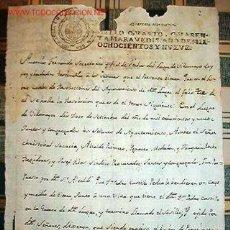 Documentos antiguos: DOCUMENTO DE SELLO QUARTO, QUARENTA MARAVEDIES, AÑO 1809, SOBRE LA VENTA DE UNAS TIERRAS.. Lote 19144516