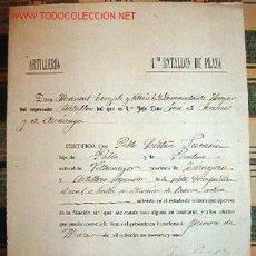 Documentos antiguos: CERTIFICADO DE SOLTERÍA, ARTILLERÍA, 1ER BATALLÓN DE PLAZA, AÑO 1891.. Lote 8864790