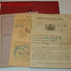 Documentos antiguos: CARTILLA MILITAR CON 4 DOCUMENTOS.. Lote 7040671