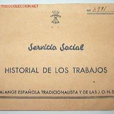 Documentos antiguos: HISTORIAL DE TRABAJO DE AUXILIO SOCIAL. Lote 6756151