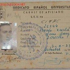 Documentos antiguos: CARNET DEL SEU CON FOTO, 1953. Lote 8416340
