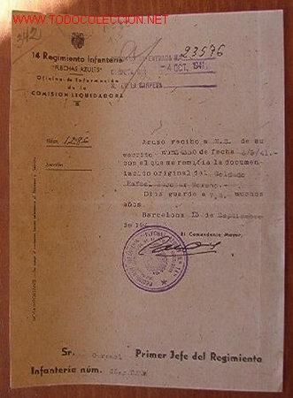 DOCUMENTO TAMAÑO CUARTILLA, 14 REGIMIENTO INFANTERÍA, FLECHAS AZULES, 1941 (Coleccionismo - Documentos - Otros documentos)