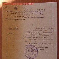 Documentos antiguos: DOCUMENTO TAMAÑO CUARTILLA, 14 REGIMIENTO INFANTERÍA, FLECHAS AZULES, 1941. Lote 12699300