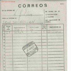 Documentos antiguos: DOCUMENTO INTERNO CORREOS MAT LOS MOLINOS MADRID. Lote 841478