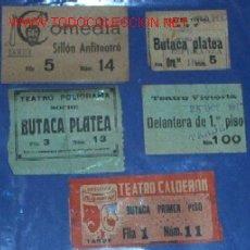 Documentos antiguos: 5 ENTRADAS ANTIGUAS DE TEATRO. Lote 27466725