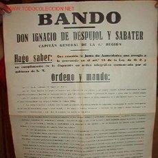 Documentos antiguos: BANDO DECLARANDO EL ESTADO DE GUERRA EN BARCELONA, 15 DE DICIEMBRE DE 1930. Lote 7731510