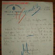 Documentos antiguos: DOCUMENTO DE CAPITANÍA GENERAL DE LA 2ª REGIÓN, SECCIÓN CICLISTA, AÑO 1929. Lote 15295570