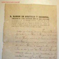 Documentos antiguos: D. RAMON DE BUSTILLO Y BARREDA CERTIFICA EL INGRESO EN EL SERVICIO, SELLO EN SECO DE ISABEL II. 1860. Lote 10292902