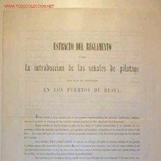Documentos antiguos: ESTRACTO DEL REGLAMENTO SOBRE LA INTRODUCCION DE LAS SEÑALES DE PILOTAGE EN LOS PUERTOS DE RUSIA . Lote 9556929