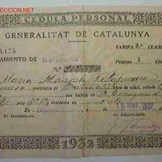 Documentos antiguos: CÉDULA PERSONAL GENERALITAT DE CATALUNYA. Lote 19389500