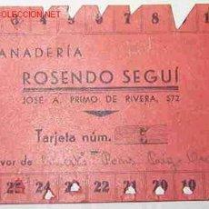 Documentos antiguos: TARJETA RACIONAMIENTO, PANADERÍA. Lote 21680872