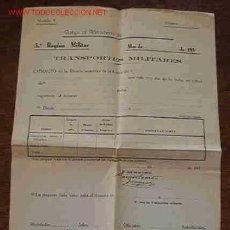 Documentos antiguos: HOJA DE TRANSPORTES MILITARES, EN BLANCO. Lote 3098370
