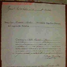 Documentos antiguos: DOCUMENTO DEL REGIMIENTO DE INFANTERÍA Nº 19. Lote 18908566