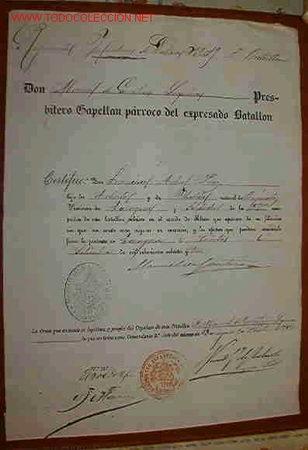 DOCUMENTO REGIMIENTO INFANTERIA Nº 19 (Coleccionismo - Documentos - Otros documentos)