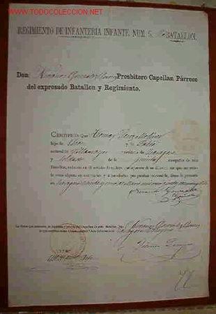 DOCUMENTO REGIMIENTO INFANTERIA Nº 5 (Coleccionismo - Documentos - Otros documentos)
