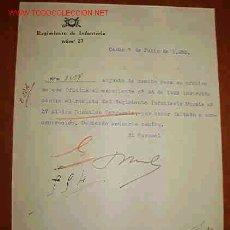 Documentos antiguos: DOCUMENTO DEL REGIMIENTO DE INFANTERÍA Nº 27. Lote 8625667