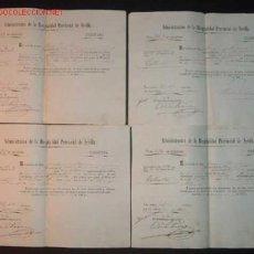 Documentos antiguos: LOTE DE 4 RECIBOS DE TRIBUTOS DEL HOSPITAL PROVINCIAL DE SEVILLA.1864. Lote 10292923
