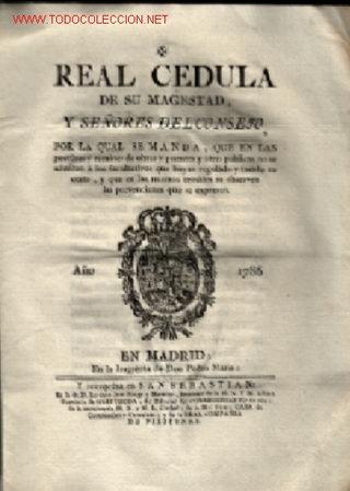 REAL CEDULA 1786 ,, INGRENTA DE DON PEDRO MARTÍN MADRID (Coleccionismo - Documentos - Otros documentos)