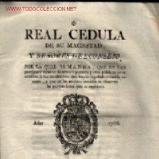 Documentos antiguos: REAL CEDULA 1786 ,, INGRENTA DE DON PEDRO MARTÍN MADRID . Lote 27037309