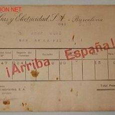 Documentos antiguos: RECIBOS DE CATALANA DE GAS Y ELECTRICIDAD S.A BARCELONA. Lote 5578289