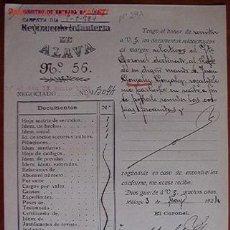 Documentos antiguos: DOCUMENTO REGIMIENTO DE INFANTERÍA DE ÁLAVA, Nº 56, 1924. Lote 7229122