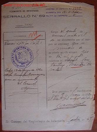 DOCUMENTO REGIMIENTO DE INFANTERÍA SERRALLO, Nº69, 1920 (Coleccionismo - Documentos - Otros documentos)