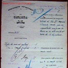 Documentos antiguos: DOCUMENTO REGIMIENTO DE INFANTERÍA DE GALÍCIA, Nº 19, 1ª OFICINA, 1928. Lote 7240605
