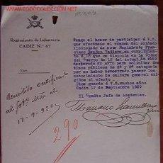 Documentos antiguos: DOCUMENTO REGIMIENTO DE INFANTERÍA CÁDIZ, Nº67, 1930. Lote 5152273