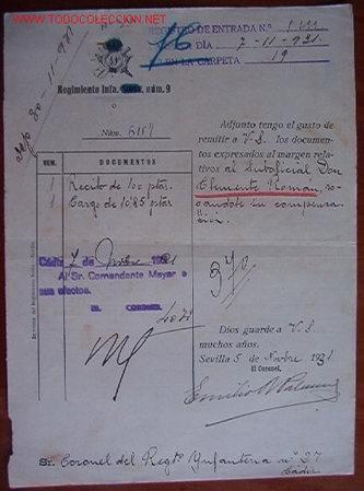 DOCUMENTO REGIMIENTO INFANTERÍA Nº9, 1931 (Coleccionismo - Documentos - Otros documentos)