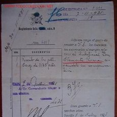 Documentos antiguos: DOCUMENTO REGIMIENTO INFANTERÍA Nº9, 1931. Lote 7301056