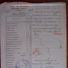 Documentos antiguos: DOCUMENTO REGIMIENTO DE INFANTERÍA INFANTE Nº 5 , 1925. Lote 6931647